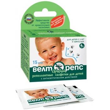 Антисептические  салфетки детские Велторепс (15 шт): купить в Москве и СПб